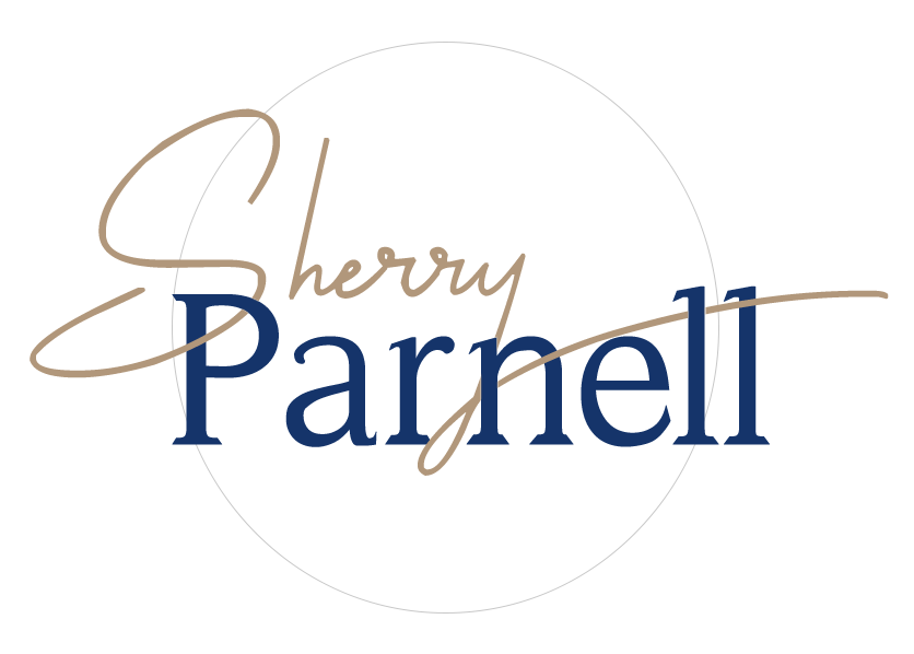 Sherry Parnell logo featuring her name inside a pale circle outline